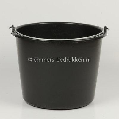 Zwarte 12L Emmer ECO - onbedrukt