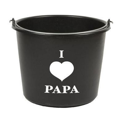 I Love Papa emmer, zwart, 12 liter