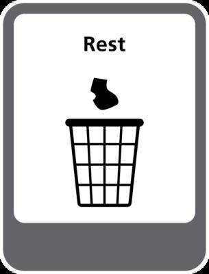 Rest afval sticker (pictogram volgens IenW)