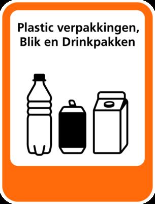 Plastic Verpakkingen-Blik-Drinkpakken sticker (pictogram volgens IenW)