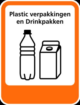Plastic Verpakkingen-Drinkpakken sticker (pictogram volgens IenW)