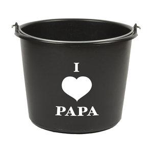 zwarte 12 liter emmer met I love papa