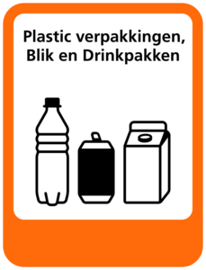Plastic-Blik-Drinkpakken sticker Afvalscheiding