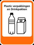 Plastic-Drinkpakken sticker Afvalscheiding